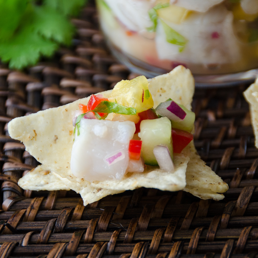 Snapper and Pineapple Ceviche on tortilla chip