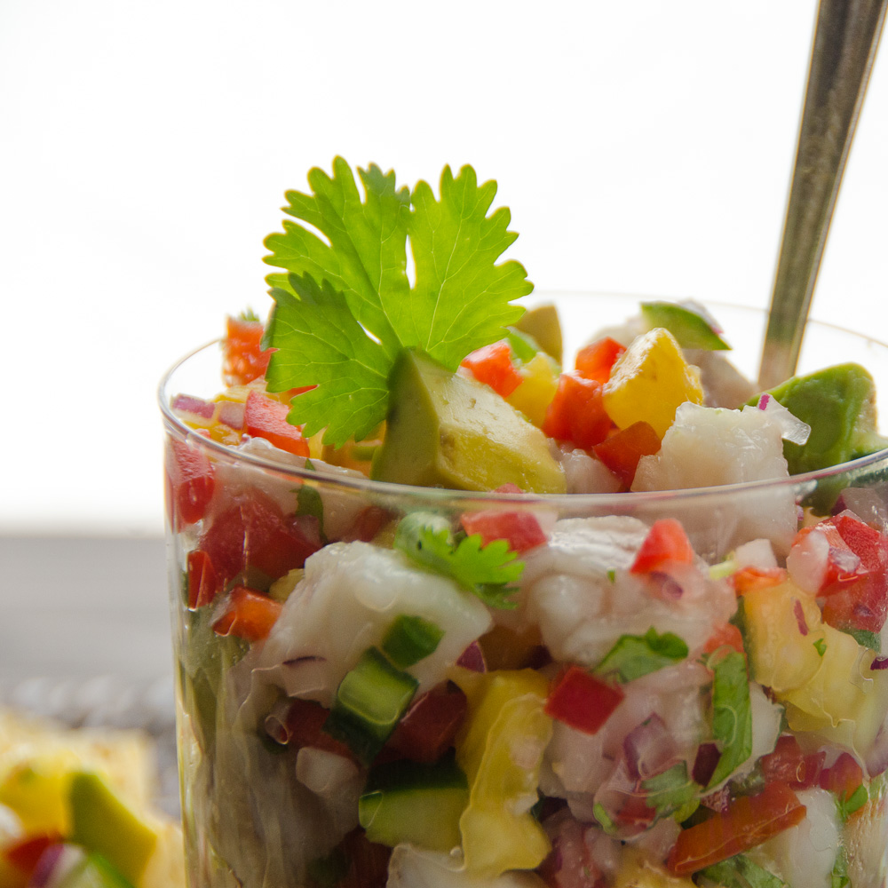 Snapper and Pineapple Ceviche in a glass