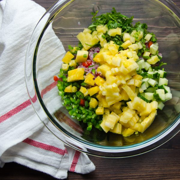 pineapple and vegetables in a bowl