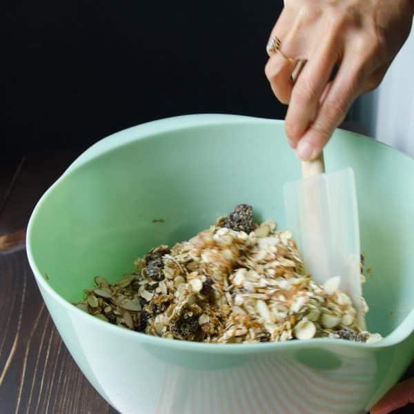 mixing granola bars.
