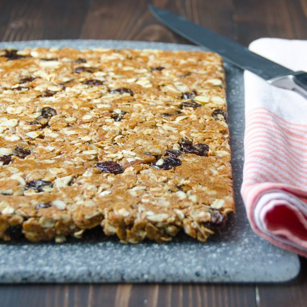 Cherry Almond Granola Bars on cutting board