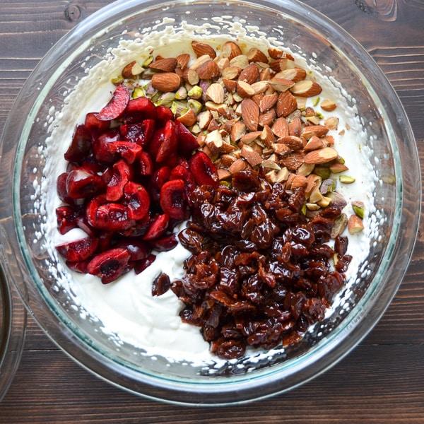 cherries, nuts and meringue