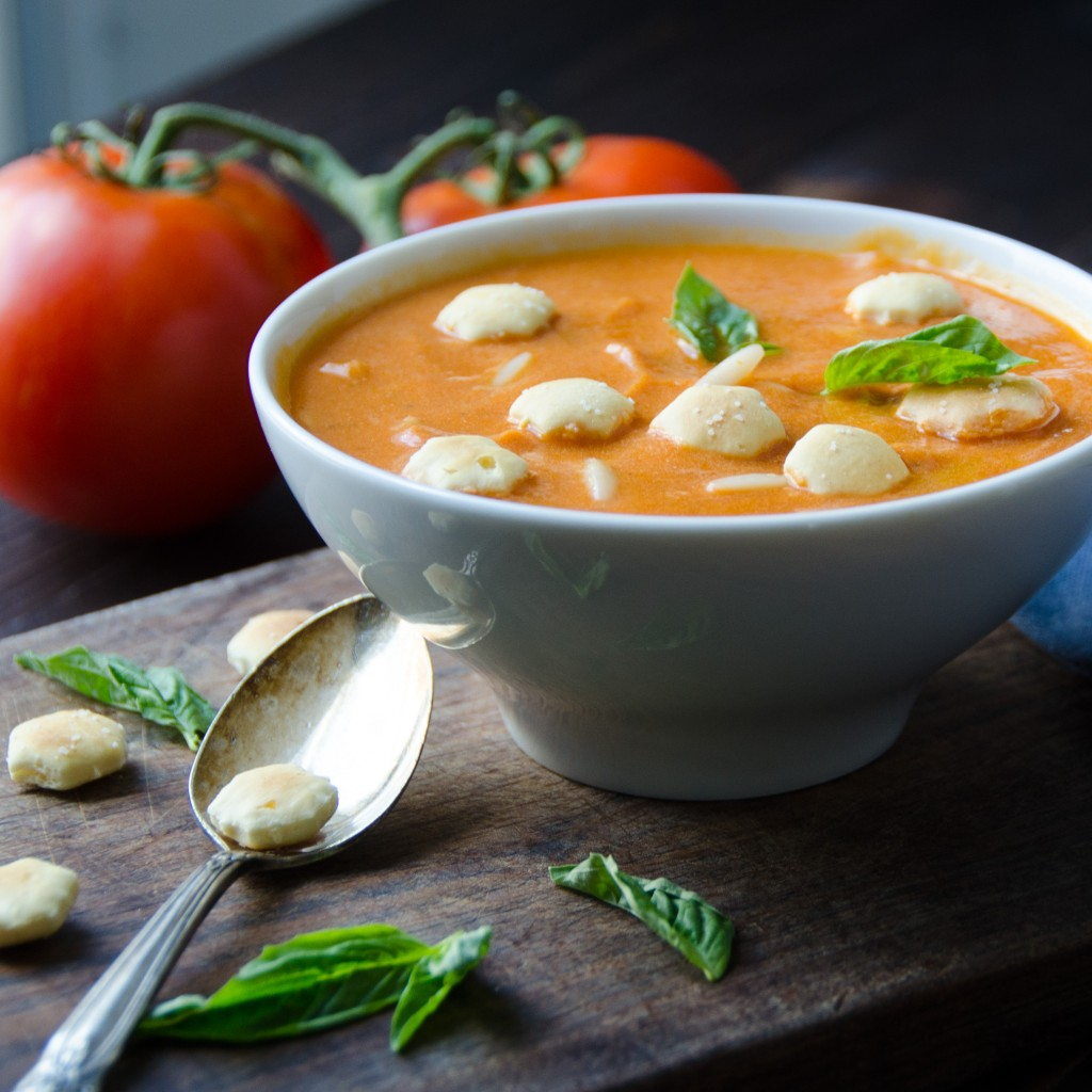 Cream of Tomato Soup with Orzo with tomatoes on a vine