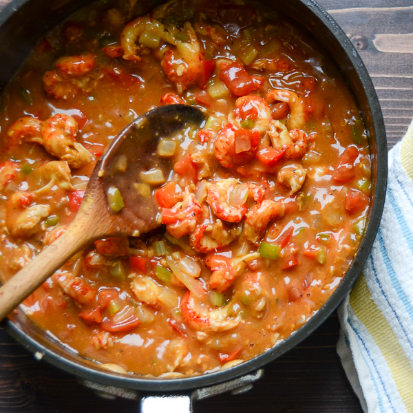 Easy Crawfish Étouffée in a pan.