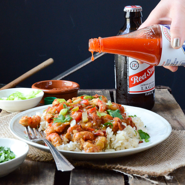 Easy Crawfish Étouffée with hot sauce.