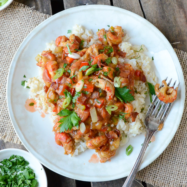 Easy Crawfish Étouffée with a fork