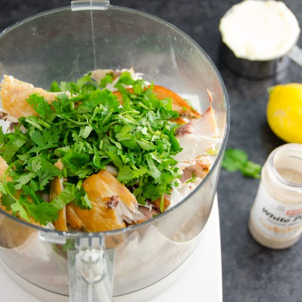 parsley and fish in a food processor