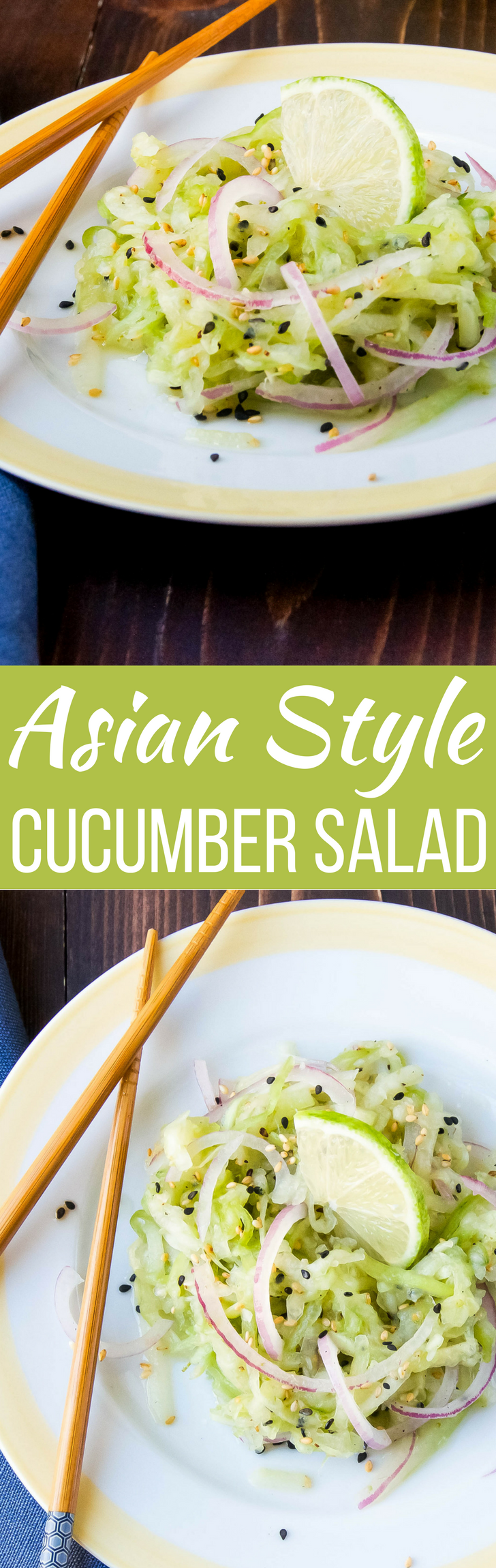 This easy Asian-Style Cucumber Salad has the best homemade dressing!  Serve w/ your spiciest dishes to cool the fire, so you can keep going back for more!