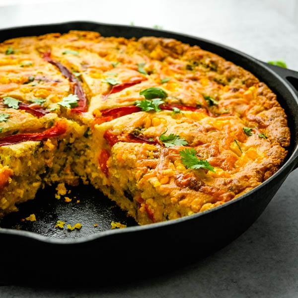 Skillet Cornbread Recipe with Hatch Peppers.