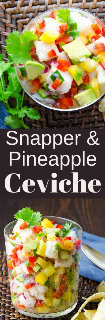 Refreshing, light & easy to make this recipe for snapper and pineapple ceviche combines, sweet, tart flavors w/crunchy vegetables. Serve w/ tortilla chips!