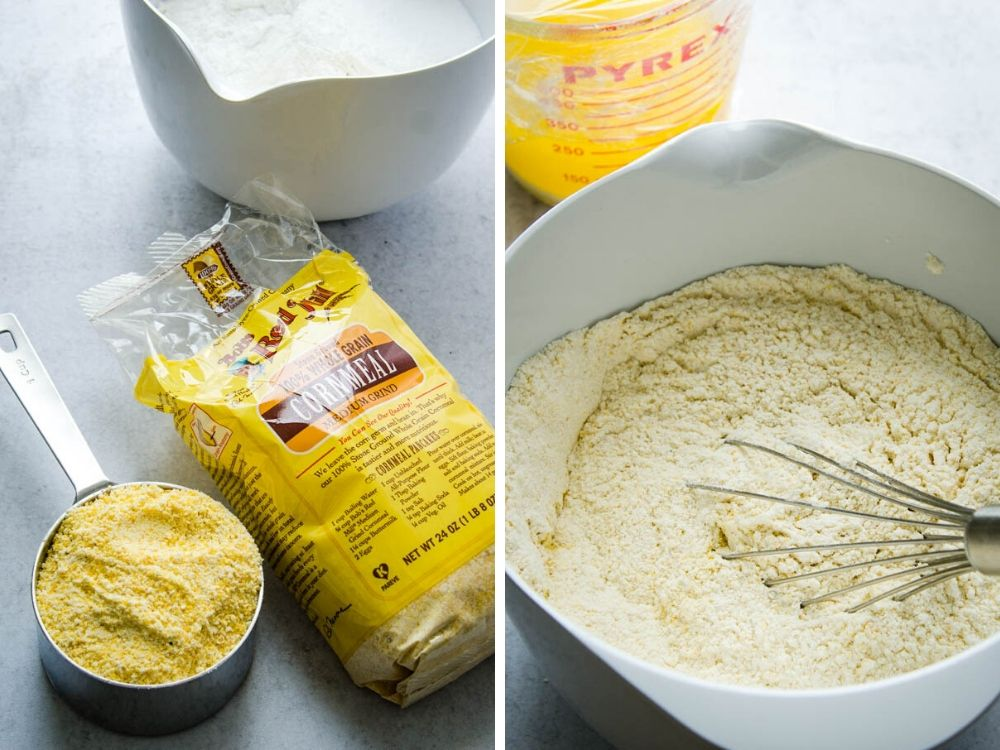 mixing dry ingredients for skillet cornbread recipe.