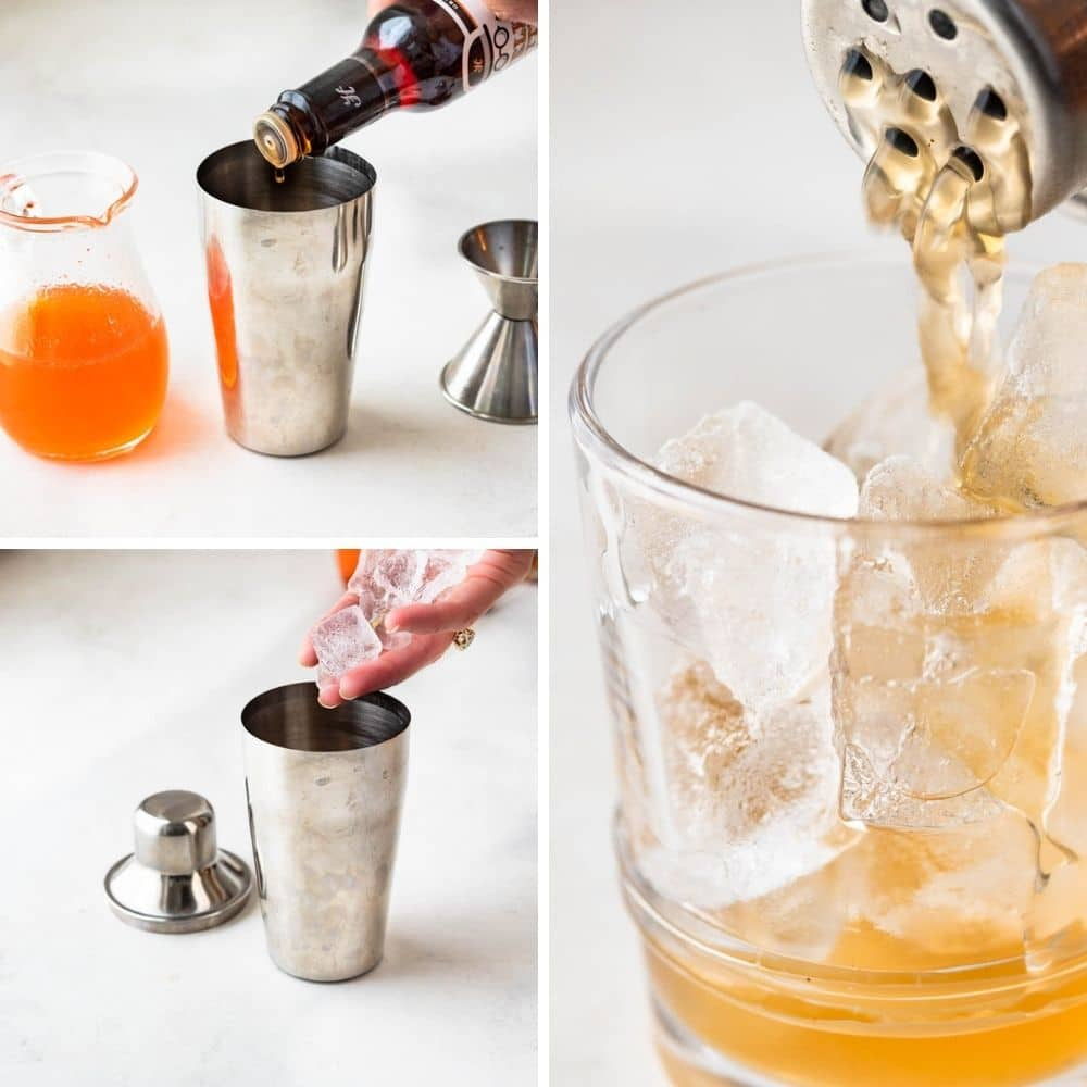 adding ice and serving the whiskey sour in an old fashioned glass.
