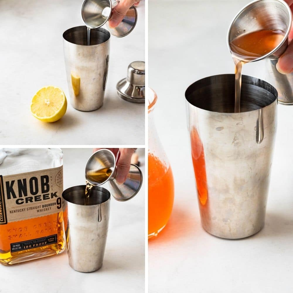 adding bourbon, peach simple syrup and lemon juice to a bar shaker.