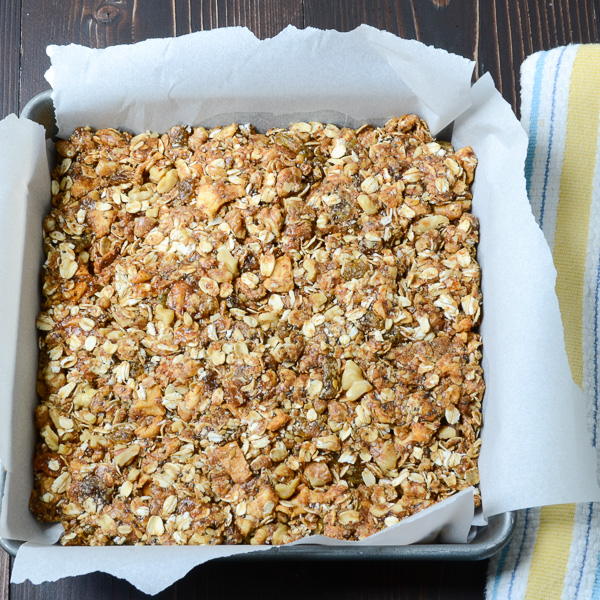 Apple Walnut Spice Granola in a baking pan