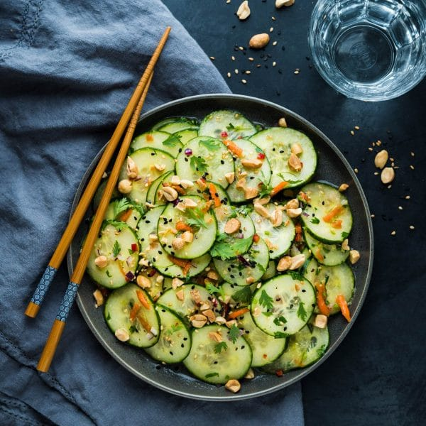 Asian Cucumber Salad with Peanuts.
