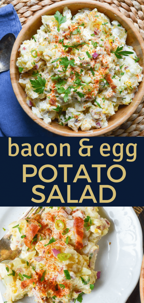 Bacon and egg potato salad goes great with burgers or hotdogs at your next cookout. Picnic potatoes w/mustard & celery make the best Southern potato salad. #potatosalad #homemadepotatosalad #potatosaladrecipe #potatosaladwitheggs #eggs #bacon #celery #southernpotatosalad #potluck #picnic #picnicsidedish #sidedish #easysidedish #summersidedish #potatoes #mustard #mustardpotatosalad #baconandeggs #bestpotatosalad