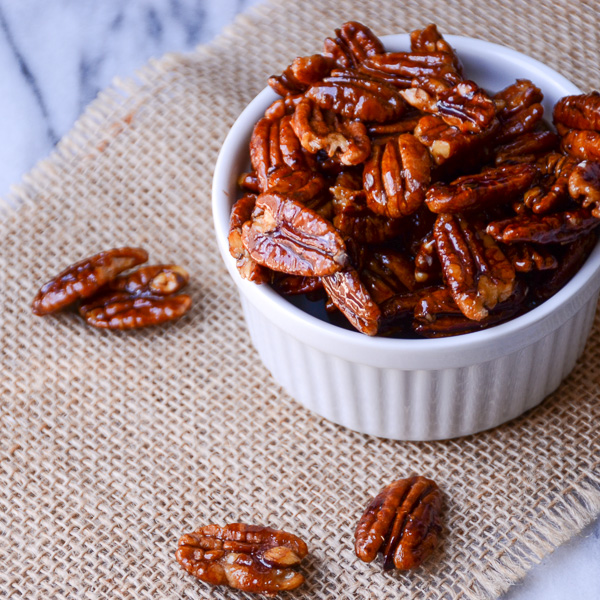 glazed spiced pecans | Garlic + Zest