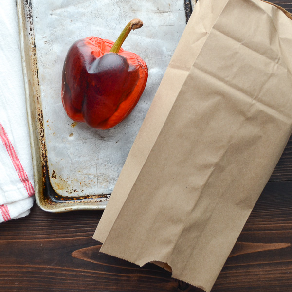roasted bell pepper and paper bag