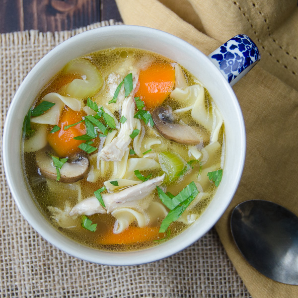 chicken mushroom noodle soup |Garlic + Zest