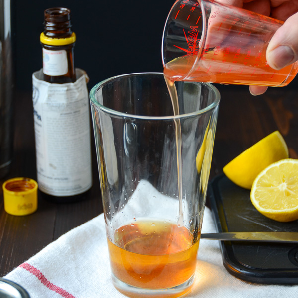 adding peach nectar to the bourbon.