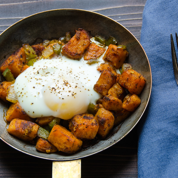 sweet potato and bacon hash with eggs.