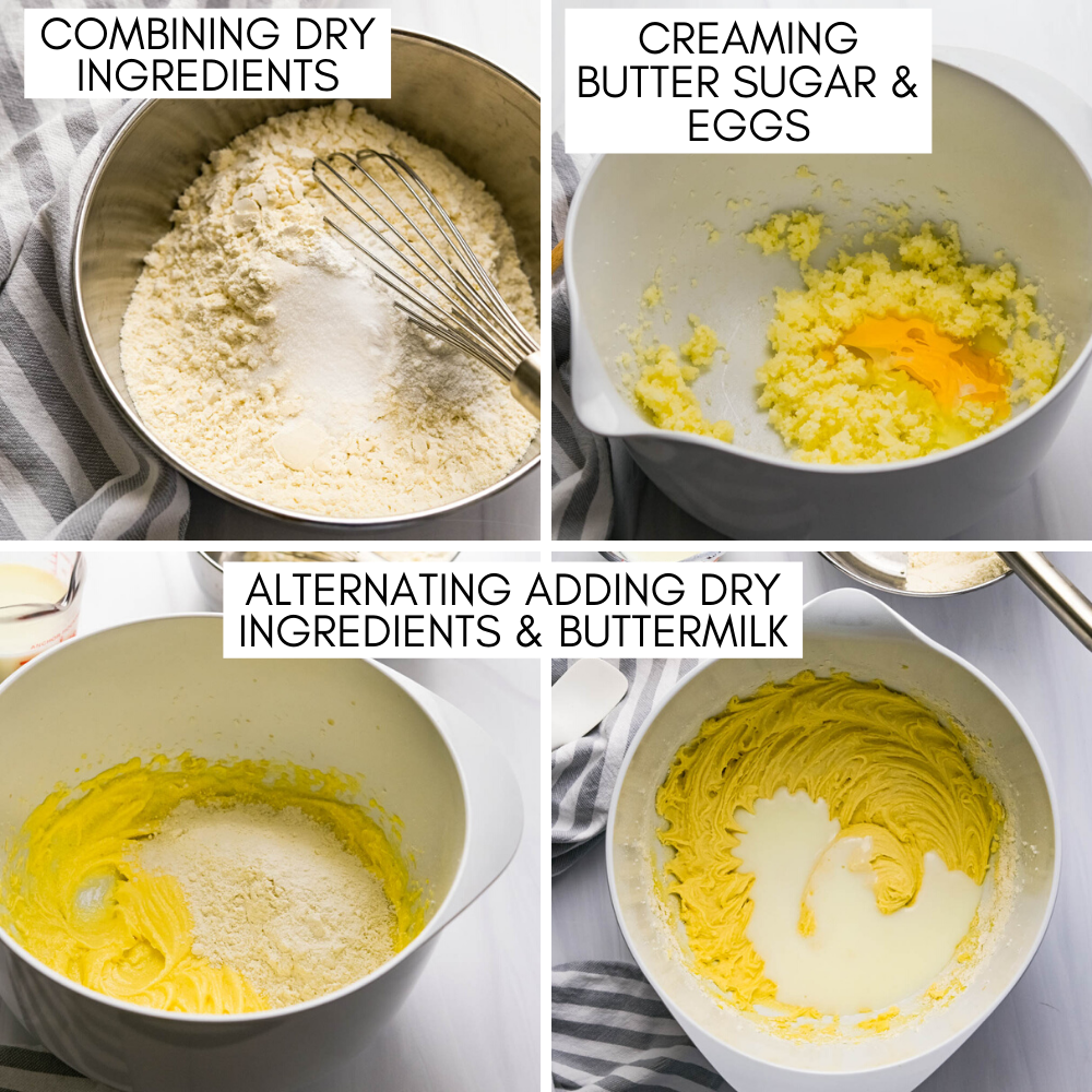 combining dry ingredients, creaming butter sugar and eggs and combining ingredients for buttermilk coffeecake batter.
