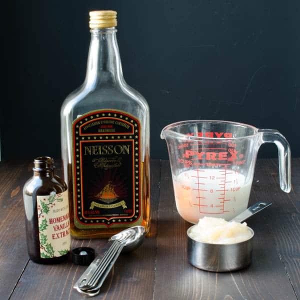 rum, milk, applesauce