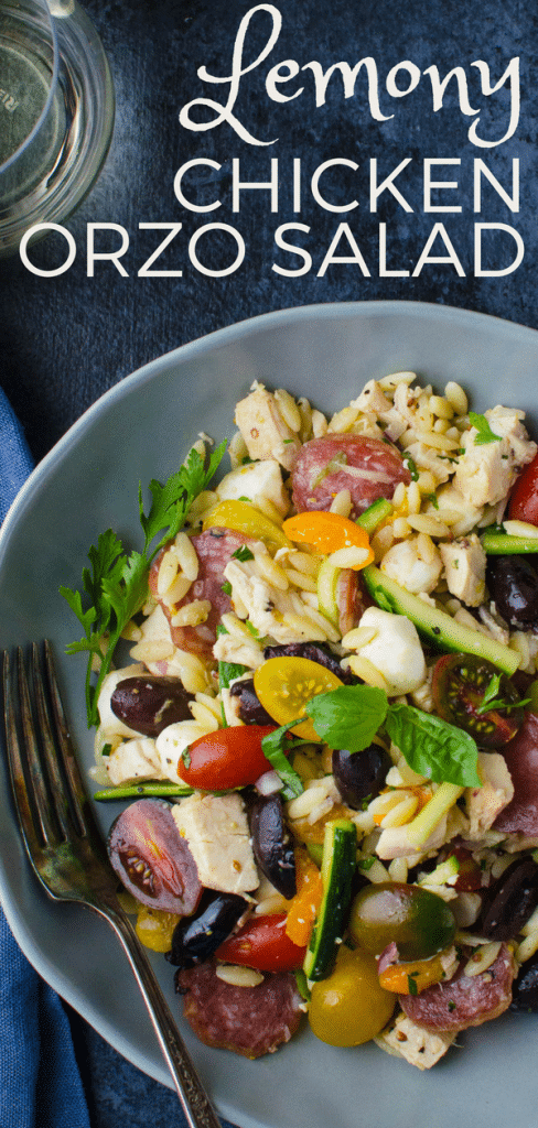 Salami, mozzarella, chicken and zucchini pasta salad with parmesan dressing, this chicken orzo salad is an easy orzo pasta salad recipe w/all the goodies! #easyorzosalad #orzosalad #pastasalad #rotisseriechicken #salami #zucchini #mozzarella #parmesandressing #lemonvinaigrette #bellpeppers #lunchsalad #dinnersalad #orzo #summerpastasalad
