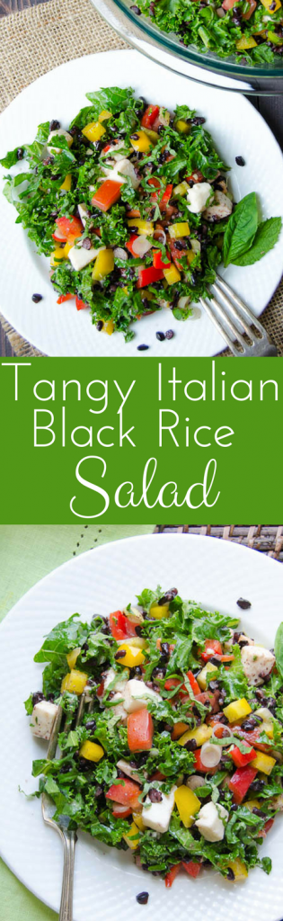 Need a good kale salad recipe? Perfect for brown-bag lunches or vegetarian dinner, Tangy Italian Black Rice Salad is loaded with your favorite flavors!