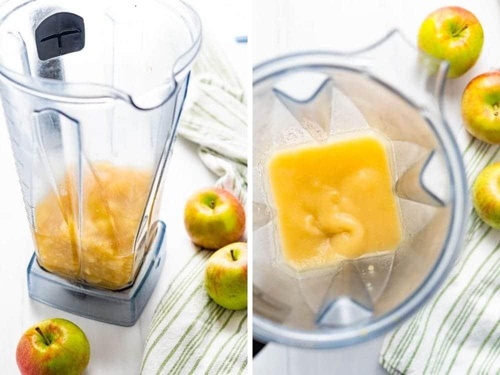Blending the chunky apples in a blender.