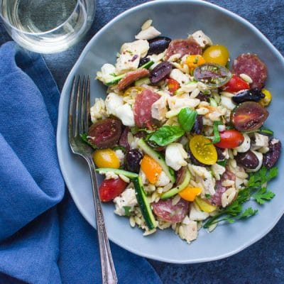 Lemony Chicken Orzo Salad