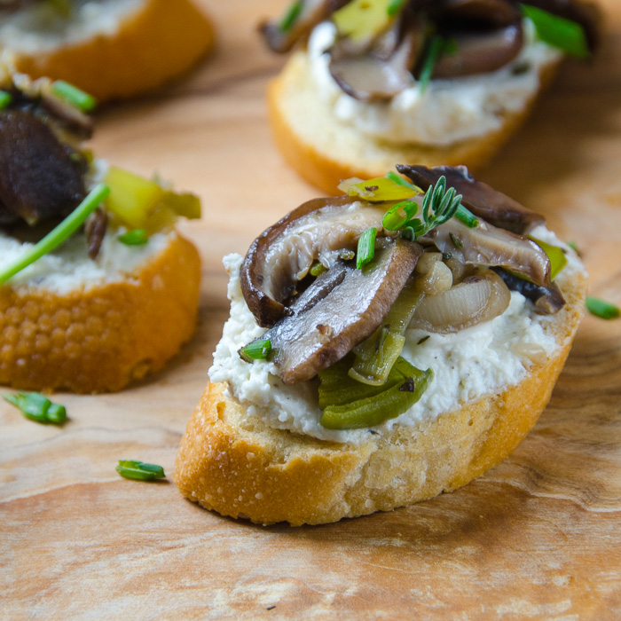 wild mushroom and leek crostini   Garlic + Zest