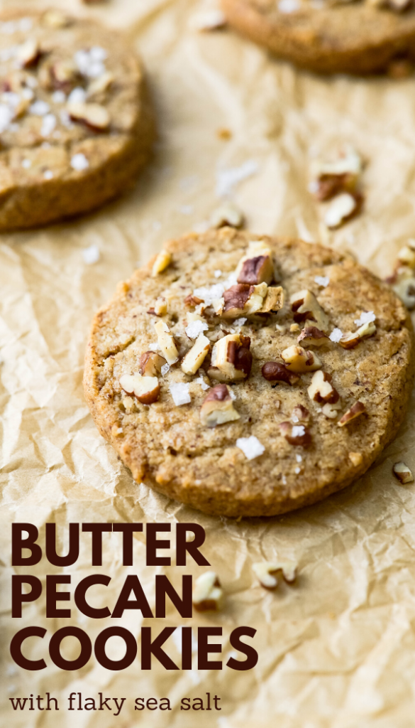 These easy, homemade butter pecan cookies are made with ground pecans and sea salt for a crunchy buttery shortbread everyone adores. This simple, old-fashioned recipe is a slice and bake favorite with brown sugar and flaky sea salt. Better than Keebler's pecan sandies. #pecansandies #pecanshortbread