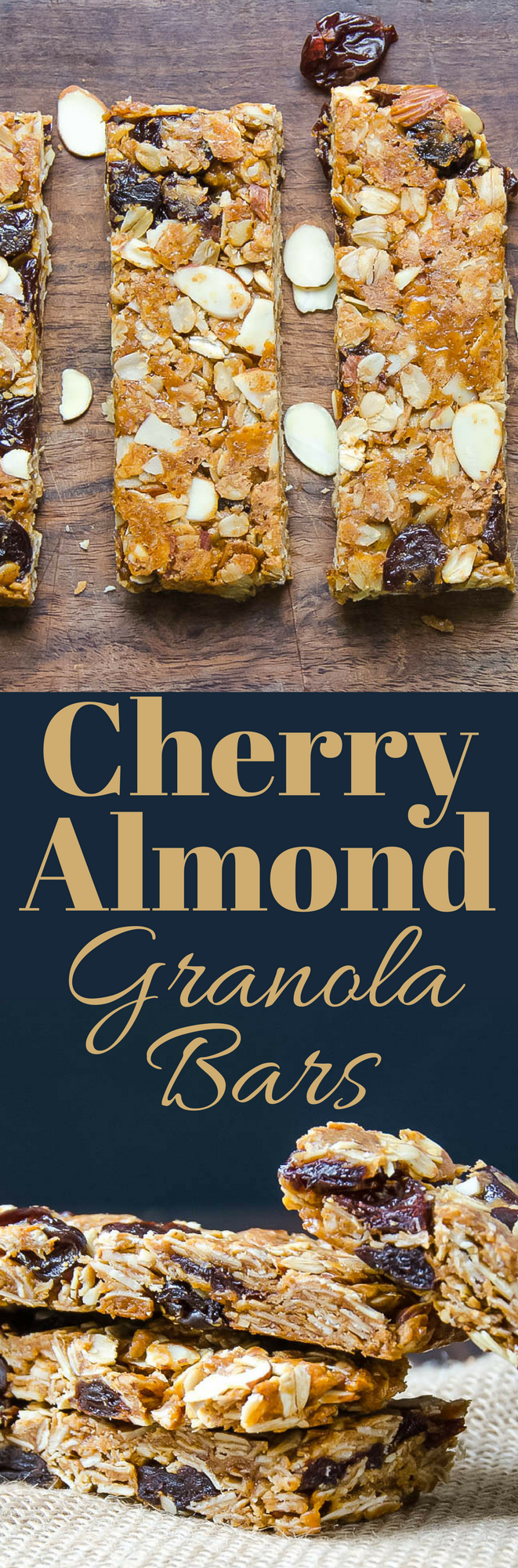This easy recipe for Cherry Almond Granola Bars makes a great on-the-go breakfast or a healthy afternoon snack. Make them in under an hour!