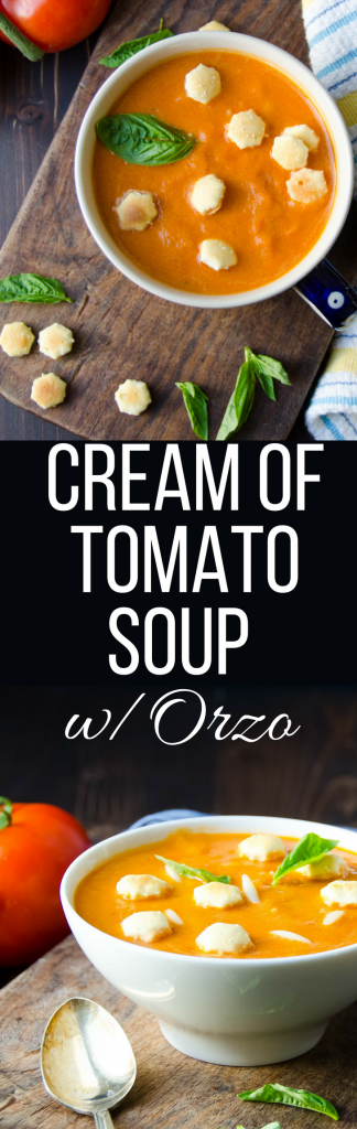 Nothing beats this recipe for homemade cream of tomato soup with orzo pasta. Great on a cold, blustery day. Make a whole pot in under an hour.