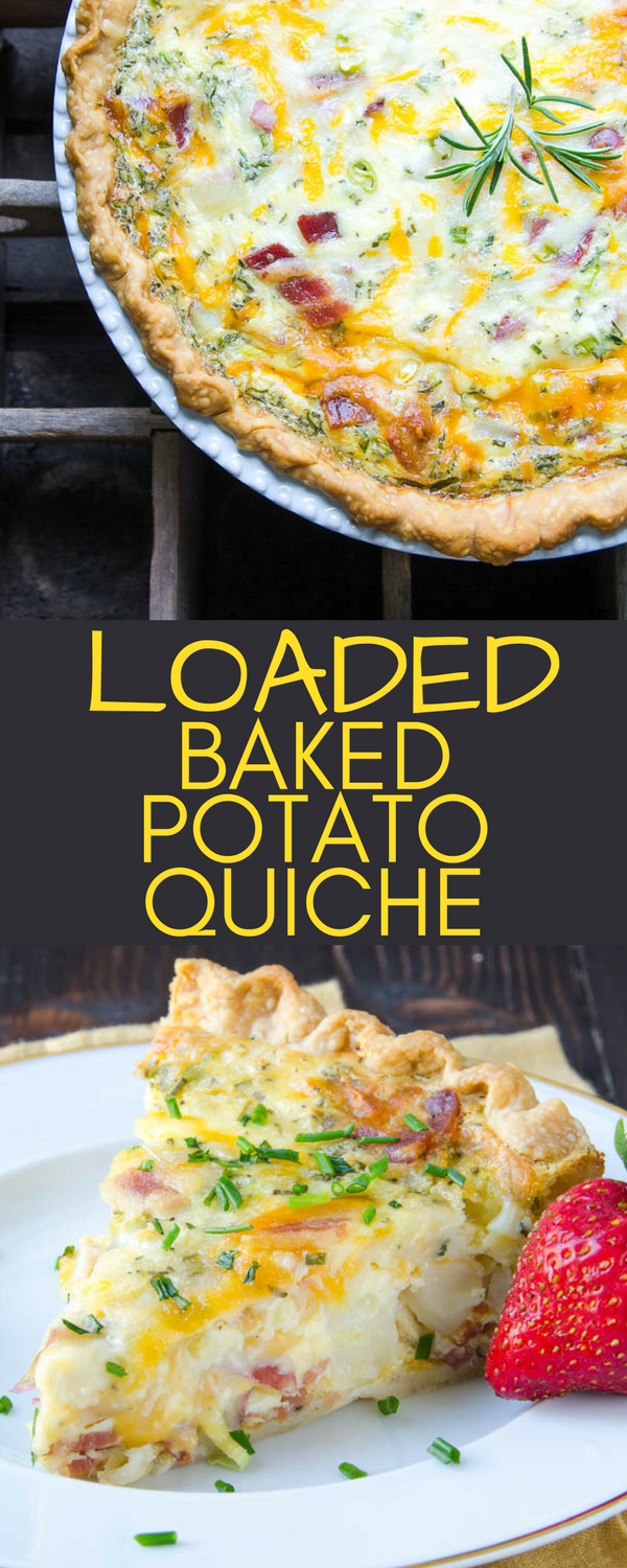 This easy quiche recipe is perfect for brunch, lunch or dinner. Loaded Baked Potato Quiche has all your favorite fixin's. Make ahead for entertaining. #quiche #brunchrecipes #breakfastrecipes #easyquiche, #bacon #potatoes #piepastry #eggs, #cheese #bakedpotato #loadedbakedpotato #baconquiche #christmasbrunch #newyearsbrunch #makeahead