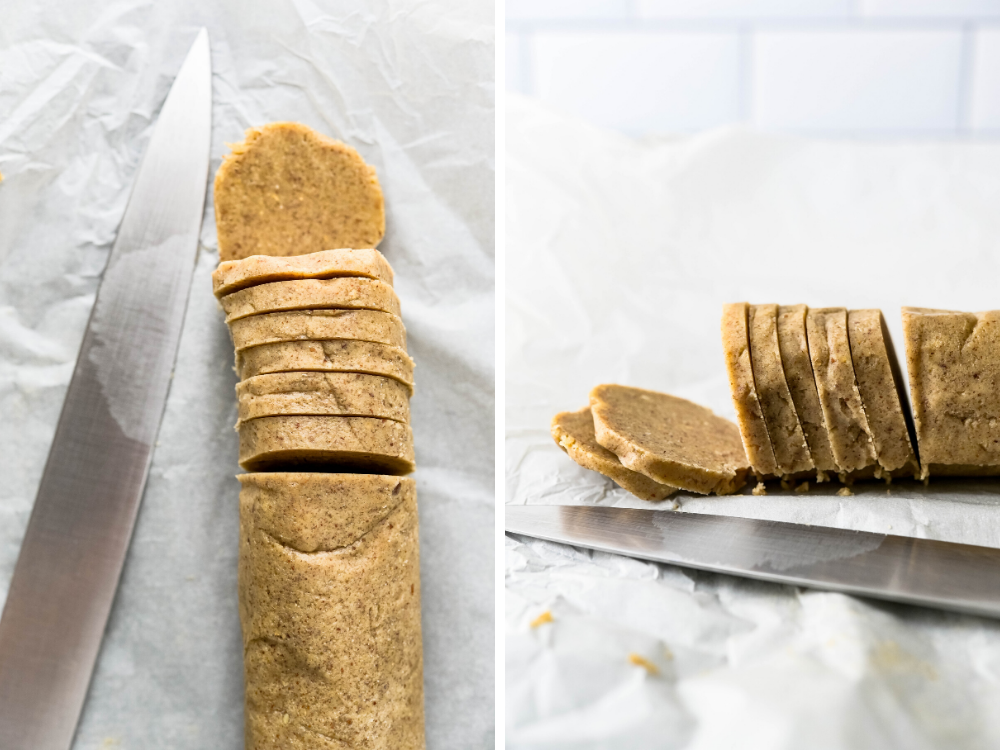 slicing shortbread into rounds.