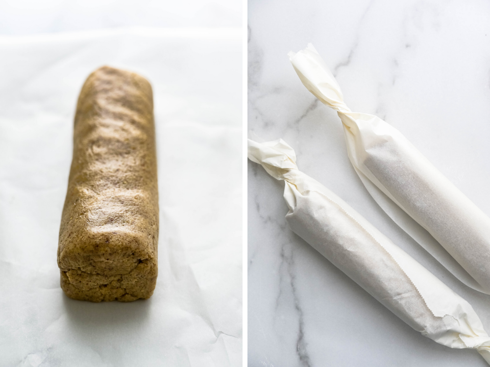 rolling dough into logs.