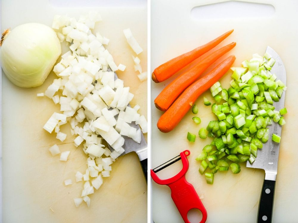 cutting mirepoix for hearty vegetable soup.