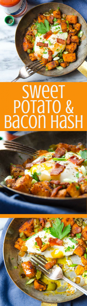 Sweet Potato and Bacon Hash is an easy diner-style skillet breakfast. Great for a lazy Sunday brunch or breakfast for dinner! #breakfast #brunch #hash #sweetpotatohash #bacon #eggs #hotsauce #skilletbreakfast #skillethash #homemadehash #weekendbreakfast