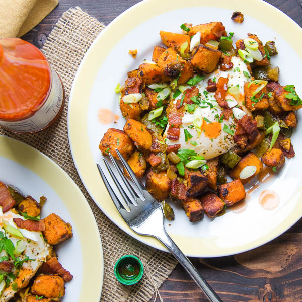 Two servings of Sweet Potato and Bacon Hash