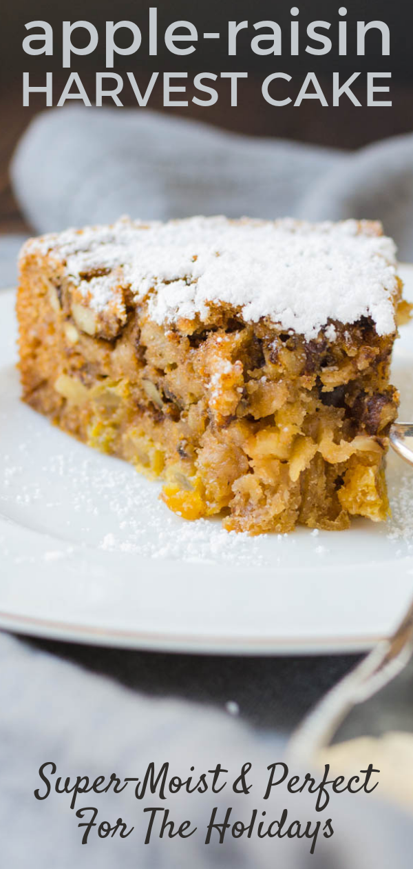 Looking for an easy fall apple dessert recipe?  This spiced Harvest Cake is moist and loaded with fruit and nuts. #applecake #raisincake #fruitcake #thanksgiving #fallcake #christmas #christmascake