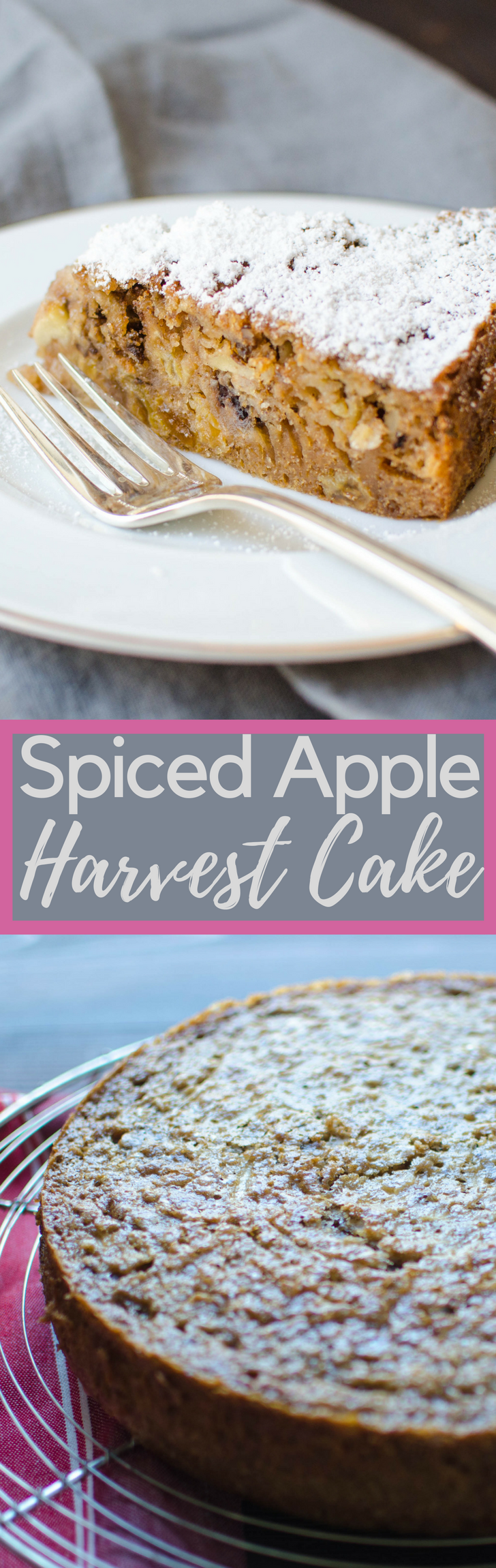Looking for an easy fall apple dessert recipe?  This spiced Harvest Cake is moist and loaded with fruit and nuts.