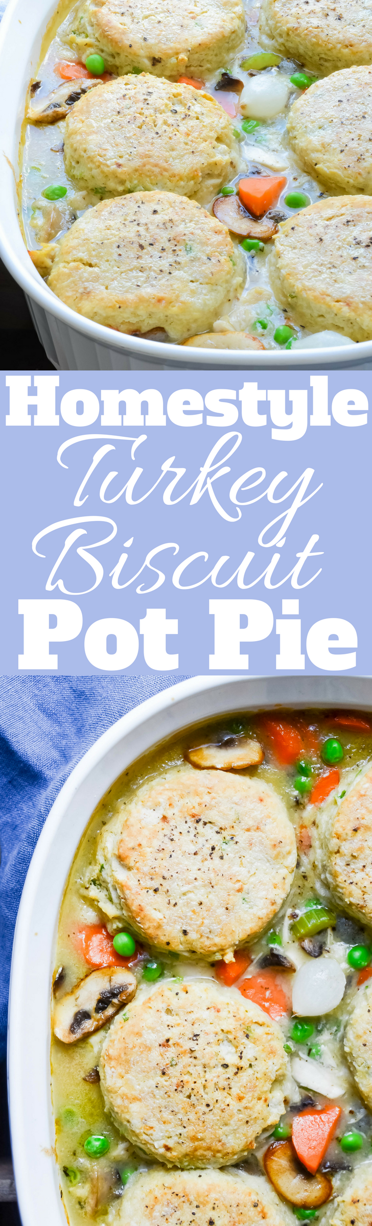 Use leftover turkey or chicken in this easy recipe for Turkey and Pepper-Biscuit Pot Pie.  It's the ultimate comfort food!