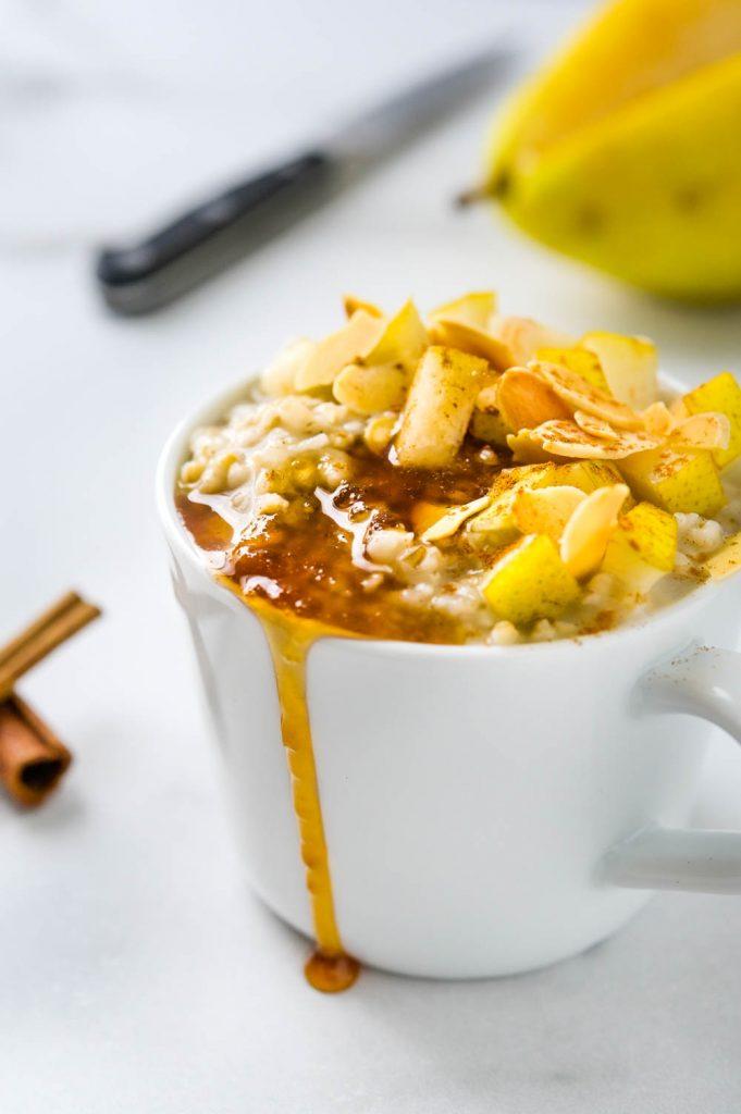 vanilla pear almond irish oatmeal.