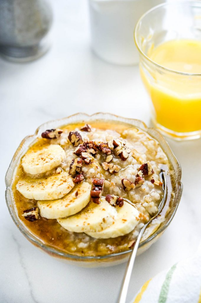 Banana maple pecan in a small bowl.