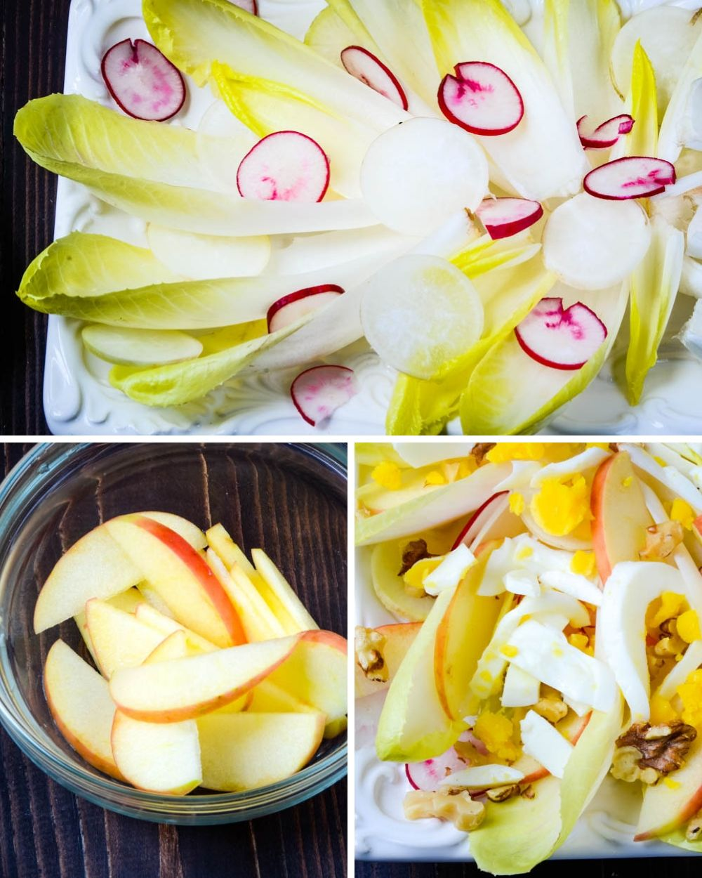 assembling the endive recipe with apples and eggs.
