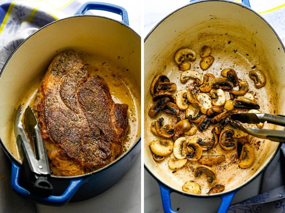 searing the meat and sautéing the mushrooms in a dutch oven.