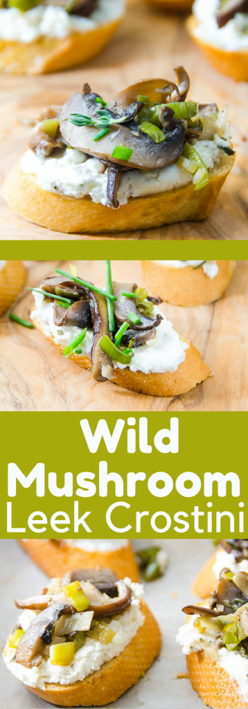 Need a quick, easy holiday appetizer? Wild Mushroom and Leek Crostini with peppered goat cheese is a make-ahead hors d'oeuvres you'll love. #crostini #mushrooms #wildmushrooms #appetizers #appetizer #horsdoeuvres #partyfood #newyearseve #christmas #christmaseve #thanksgiving #holidayappetizers #partyfare #goatcheese #chevre #crostini #mushroom #crimini #leeks #garlic #frenchbread #toastpoints