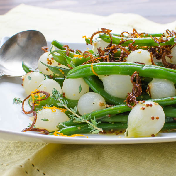backlit Orange-Dijon Haricots Verts with Crispy Shallots